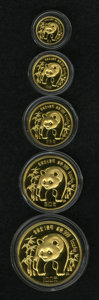 China, China: People's Republic five-piece Panda gold Proof set 1986,... (Total: 5 coins)