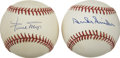 Autographs:Baseballs, Willie Mays and Duke Snider Single Signed Baseballs Lot of 2.Willie and the Duke each display their prowess in the form of ...