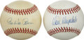 Autographs:Baseballs, Pee Wee Reese and Don Drysdale Single Signed Baseballs Lot of 2.Dodgers Hall of Fame Greats Pee Wee Reese and Don Drysdale...