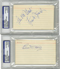 Autographs:Index Cards, Bill Dickey and Frank Frisch Signed Index Cards, PSA Authentic Lot of 2. Hall of Fame pair of signed index cards from vinta...