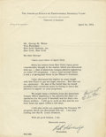 Autographs:Letters, 1953 Will Harridge Signed Typed Letter. The AL's president from 1931 to 1958, Will Harridge, got his start as a baseball ex...
