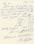 Autographs:Letters, 1972 Enos Slaughter Signed Handwritten Letter. In 1972 the Hall ofFame great of the St. Louis Cardinals penned the letter...