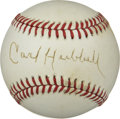Autographs:Baseballs, Carl Hubbell Single Signed Baseball. With his deceptive screwball delivery, Carl Hubbell was adept enough to collect two ...