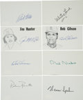 Autographs:Index Cards, Baseball Hall of Fame Pitchers Signed Index Cards Lot of 8. Each ofthe men who have contributed a signature to this lot ex...