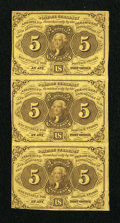 Fractional Currency:First Issue, Fr. 1230 5c First Issue Vertical Strip of Three Extremely Fine....