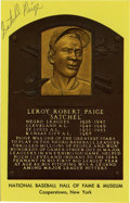 Autographs:Post Cards, Satchel Paige Signed Gold Hall of Fame Plaque. The ageless pitchinglegend Satchel Paige has applied his highly desirable si...