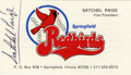 Autographs:Others, Satchel Paige Signed Business Card. When the New Orleans Pelicansminor league team moved to Springfield, IL in 1978, they b...