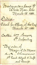 Western Expansion:Cowboy, 1881 6th Infantry Orders of the Day Document, White River,Colorado....