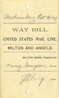 Western Expansion:Cowboy, 1903 United States Mail Line Way Bill....