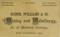 Western Expansion:Goldrush, Business Card Mining & Metallurgy San Francisco California ca1880s -...