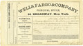 Western Expansion:Goldrush, Wells, Fargo & Company Receipt Gold Bars ca 1868 -...