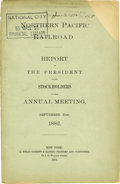 Transportation:Railroad, Pamphlet Northern Pacific Railroad Report 1882 -...