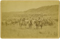 Western Expansion:Cowboy, Cabinet Card Photograph by Davis, Cowboys Herding Cattle ca1880s....