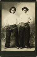 Western Expansion:Cowboy, Cabinet Card Photograph of Two Cowboys Wearing Black Wooly Chaps ca1890s....