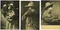Western Expansion:Cowboy, Lot of Three Cowgirl Collotypes by George B. Cornish ca 1907, 08,& 09.... (Total: 3 Items)