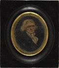 Political:3D & Other Display (pre-1896), Thomas Jefferson: Rare, Early Miniature Oil Portrait on Canvas,Probably Dating from his Presidency....
