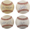 Autographs:Baseballs, Baseball Stars Single Signed Baseballs Lot of 4. Four of our mostbeloved major league stars of the past have placed perfec...