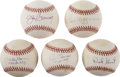 Autographs:Baseballs, Baseball Stars Single Signed Baseballs Lot of 5. Excellent quintetof singles come here courtesy of Roy Sievers, Bill Mazer...