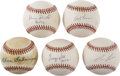 Autographs:Baseballs, Baseball Stars Single Signed Baseballs Lot of 5. Five former giantsin the realm of major league popularity have checked in...