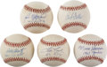 Autographs:Baseballs, Baseball Stars Single Signed Baseballs Group of 5. Each of fiveoffered official American League orbs that we present here ...