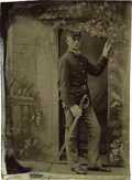 Military & Patriotic:Indian Wars, 1/4 Plate Tintype of Indian Wars Soldier ca 1870s....