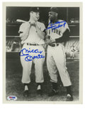 Autographs:Photos, Mickey Mantle and Willie Mays Dual-Signed Photograph. The Mick andThe Say Hey Kid converse before one of the memorable con...