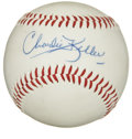 Autographs:Baseballs, Charlie Keller Single Signed Baseball. Top-notch rarity is offeredhere in the form of a single from big-boy outfielder for...