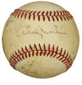 Autographs:Baseballs, Billy Martin Single Signed Baseball. While the currently offeredorb presents visibly as a sweet spot single courtesy of th...