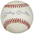 Autographs:Baseballs, Mickey Mantle Single Signed Baseball. It's tough to imagine whatheights the career of Mickey Mantle would have soared to h...