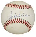 Autographs:Baseballs, Hank Aaron Single Signed Baseball. When Hank Aaron took thebatter's box, he let his hammer do the talking. Great sweet spo...