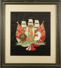 Transportation:Nautical, Nautical Handicrafts: Woolwork Picture of a British Royal NavyFrigate with the Royal Arms and Flanked by Flags, 1860-1890....