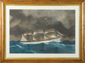 Transportation:Nautical, Maritime Painting: Yacht Portrait of the British Steam Yacht TheAlice in Stormy Seas by [Antonio] De Simone....
