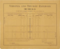 Transportation:Railroad, Virginia & Truckee Railroad Timetable Broadside, 1895. . ...