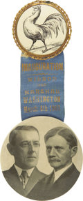 """Political:Inaugural (1789-present), Wilson & Marshall: Dramatic Large 1913 Inaugural Badge With 3½"""" Celluloid Jugate...."""