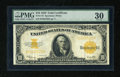 Large Size:Gold Certificates, Fr. 1173 $10 1922 Gold Certificate PMG Very Fine 30....