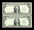 Error Notes:Third Printing on Reverse, Fr. 1908-E $1 1974 Federal Reserve Notes. Two Consecutive Examples. Choice Crisp Uncirculated.. ... (Total: 2 notes)