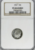 Proof Roosevelt Dimes: , 1961 10C PR68 Cameo NGC. NGC Census: (163/152). PCGS Population(144/66). Numismedia Wsl. Price for NGC/PCGS coin in PR68:...
