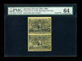 "Fractional Currency:Second Issue, 25c Second Issue ""Olier"" Paper Vertical Pair PMG Choice Uncirculated 64...."