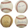 Autographs:Baseballs, Baseball Stars Single Signed Baseballs Lot of 4. Well-executedquartet of singles comes from four past stars at the major l...