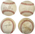 Autographs:Baseballs, Boston Red Sox Stars Single Signed Baseballs Lot of 4. Greatquartet of singles comes to us by way of four former stars of ...