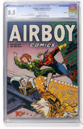 Golden Age (1938-1955):War, Airboy Comics V3#11 Big Apple pedigree (Hillman Fall, 1946) CGC VF+8.5 Off-white pages....