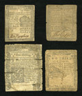 Colonial Notes:Mixed Colonies, Low-Grade Continentals & Colonials.... (Total: 4 notes)