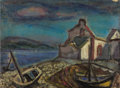 Fine Art - Painting, Russian:Modern (1900-1949), ALEXANDRE ISAILOFF (Russian, 1869-1996). Anchored for theNight. Oil on canvas. 15 x 20-1/2 inches (38.1 x 52.1 cm).Sig...
