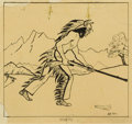 Fine Art - Work on Paper, KIRILL BORISOVICH KUSTODIEV . Indian, 1924. Ink on paper. 8-1/2 x 9 inches (21.6 x 22.9 cm). Signed lower right in Cyril...