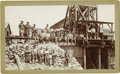 Western Expansion:Goldrush, Great Cabinet Card Photograph Many Miners at Mine ca 1880s - ...