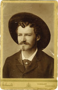 Photography:Cabinet Photos, Cabinet Card Photograph of Man with Masons Pin Tie Tac 1880s-1890s-...