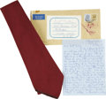 Movie/TV Memorabilia:Costumes, Boris Karloff Owned and Worn Necktie with Signed Letter from EvelynKarloff. ...