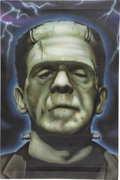 Movie/TV Memorabilia:Original Art, Boris Karloff Frankenstein's Monster Fan Painting....