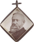 Political:Small Miscellaneous (pre-1896), Harrison & Reid: 1892 Campaign Charm With Photo Of Both....