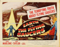 "Movie Posters:Science Fiction, Earth vs. the Flying Saucers (Columbia, 1956). Title Lobby Card(11"" X 14"")...."